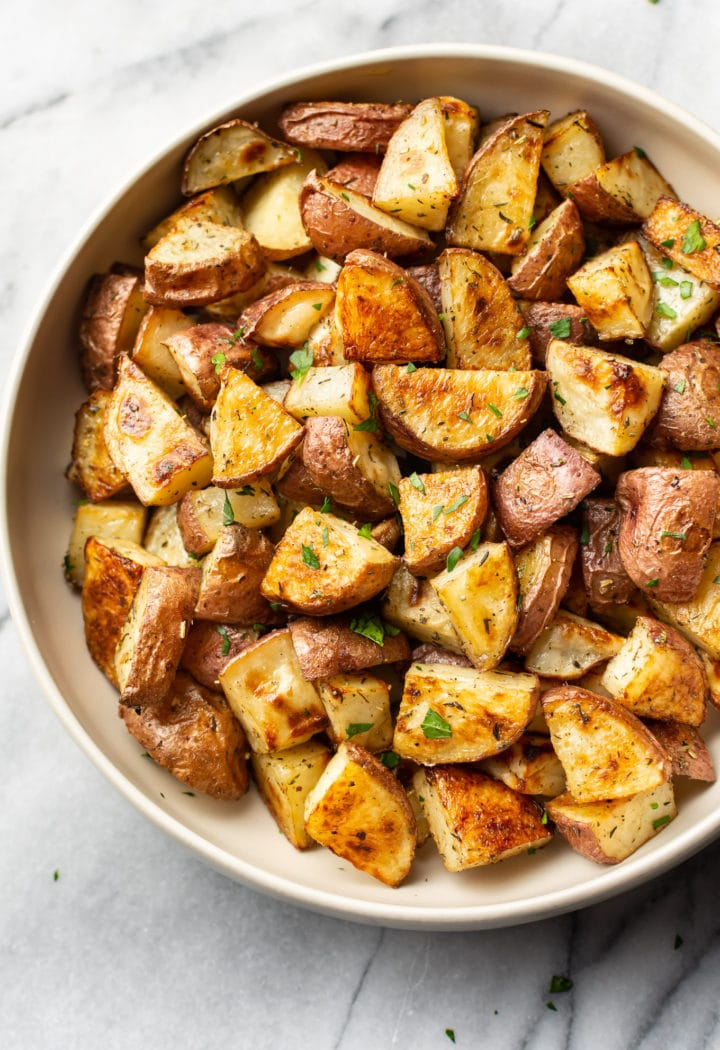 roasted red potatoes in a serving bowl