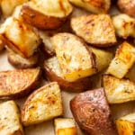 close-up of crispy roasted red potatoes