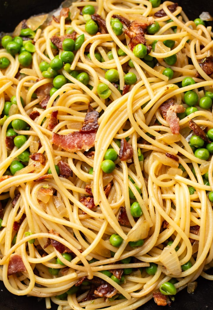close-up of bacon and pea pasta