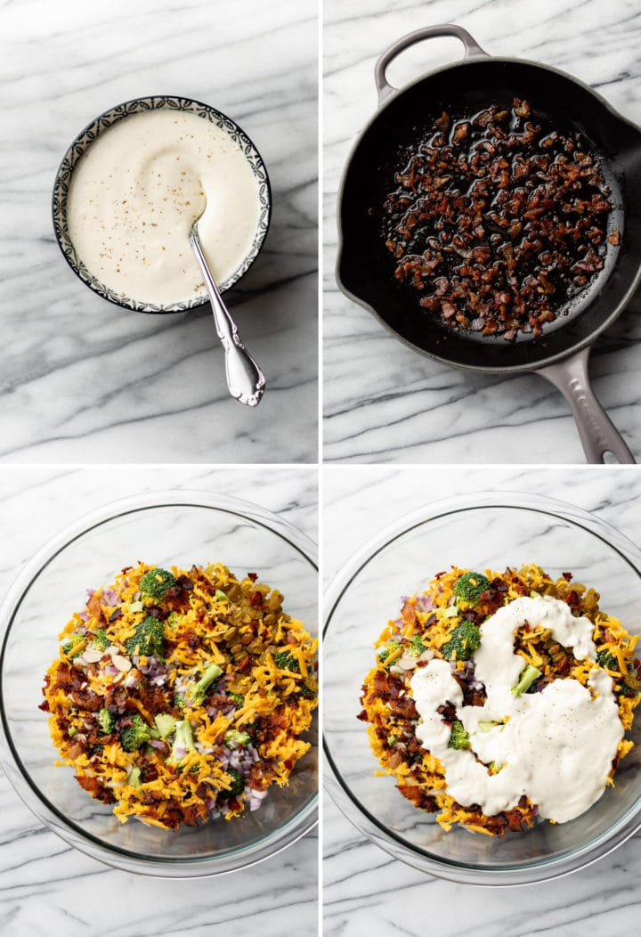 how to make broccoli salad process photo collage