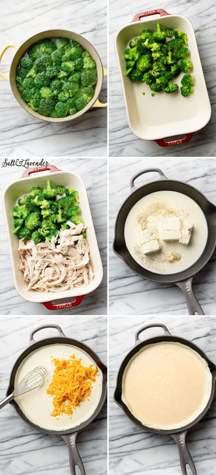 how to make chicken divan process photo collage