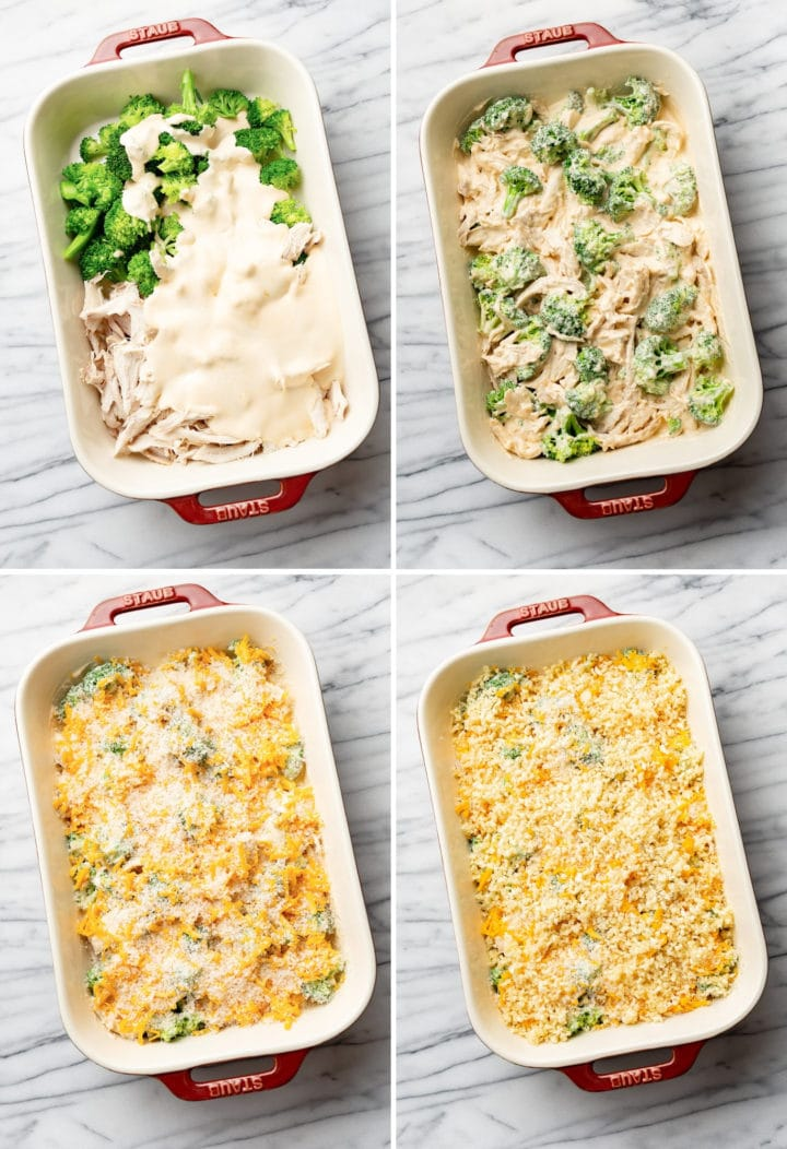 broccoli chicken divan process photo collage