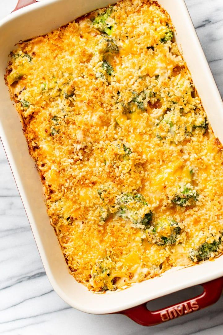 broccoli chicken divan in a 9x13 casserole dish