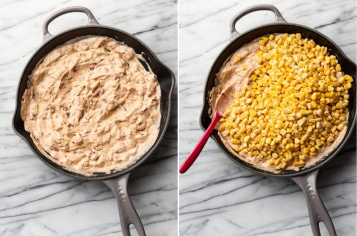 Rotel corn dip process collage