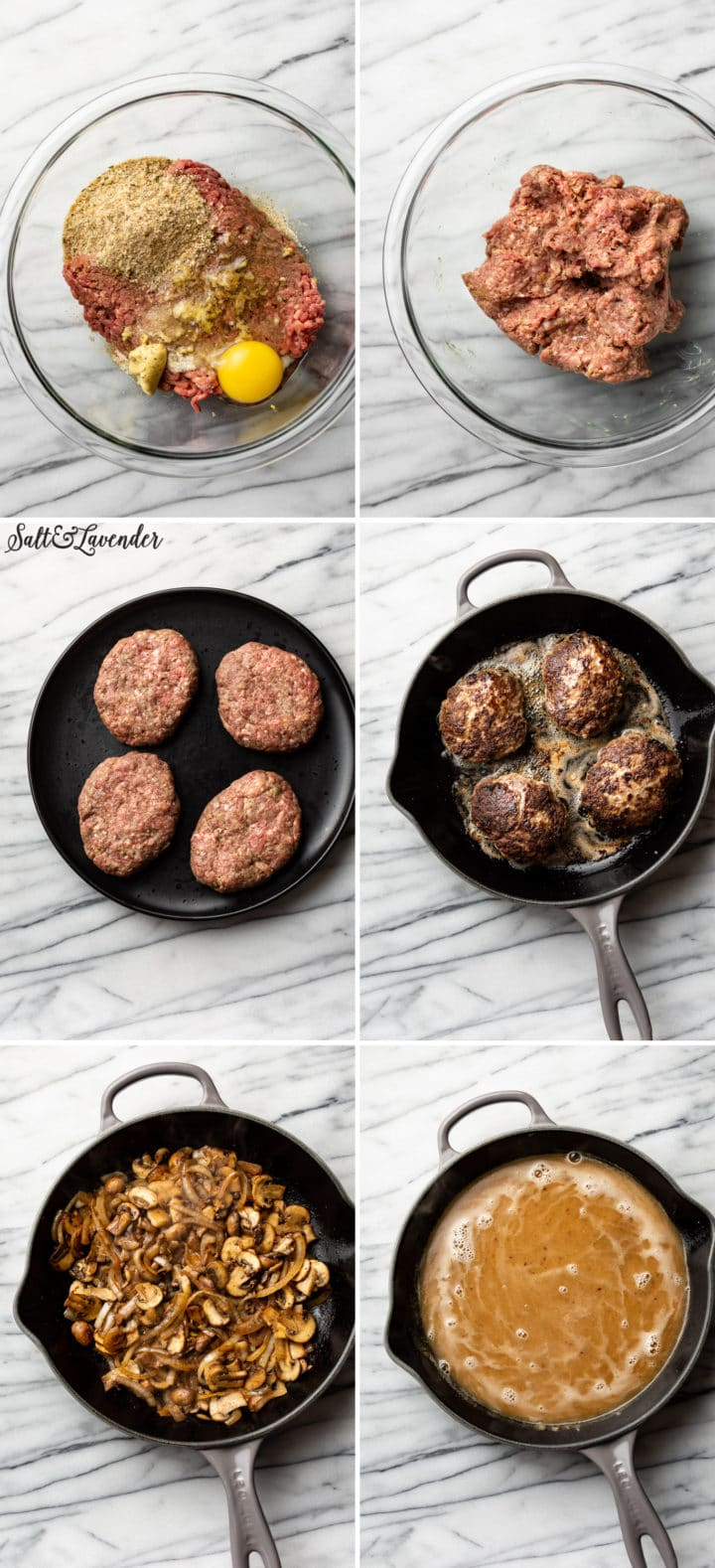 Salisbury Steak process photo collage