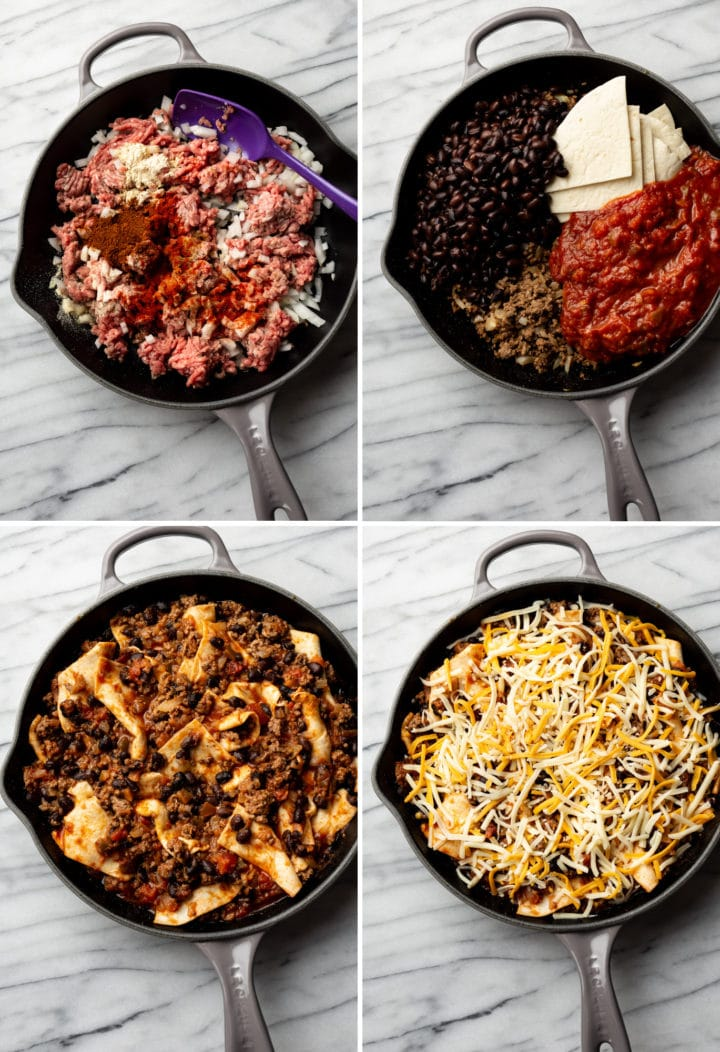 process photo collage of how to make this cheesy taco skillet