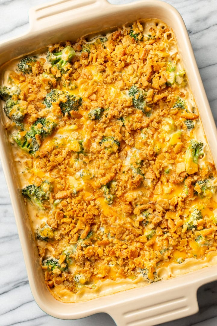 the best broccoli casserole on a marble background
