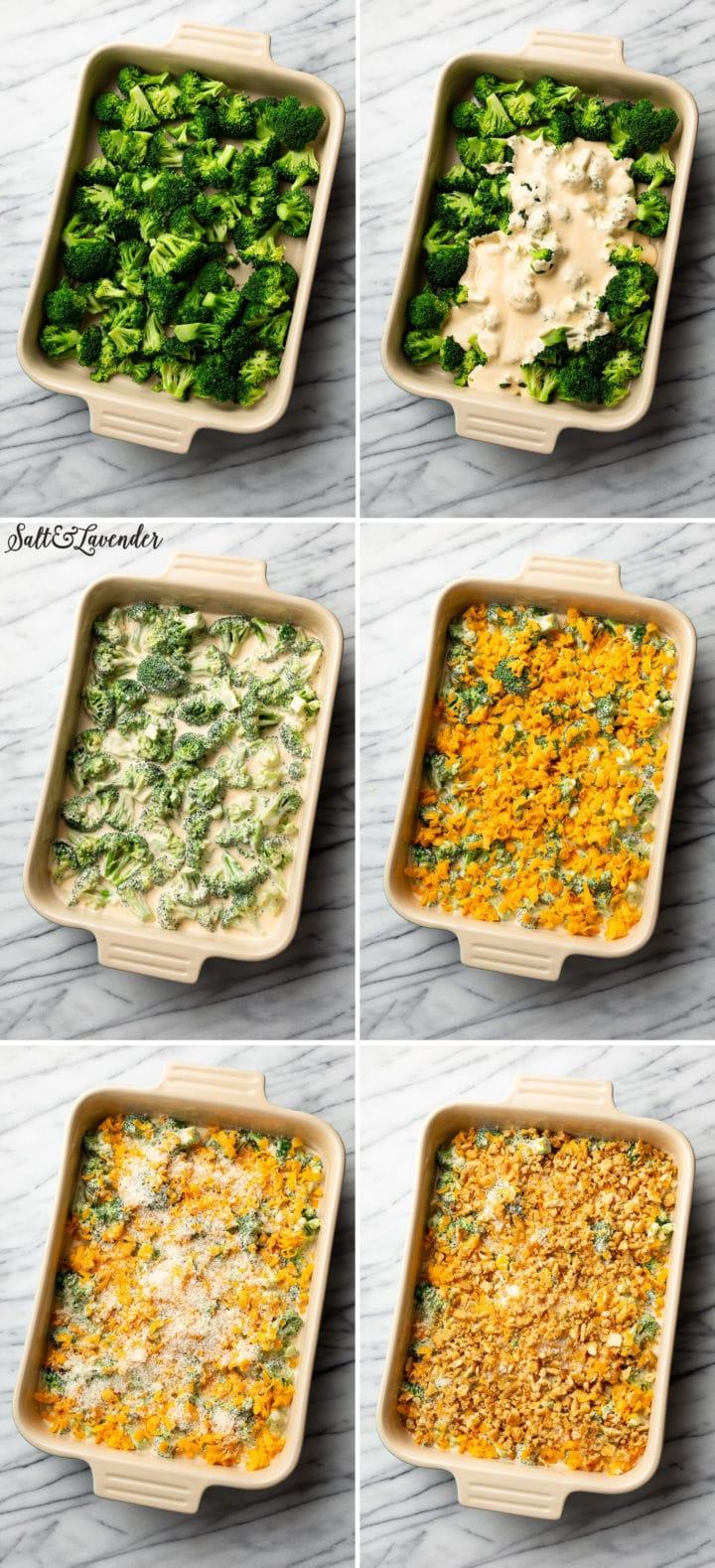 broccoli cheddar casserole process photo collage
