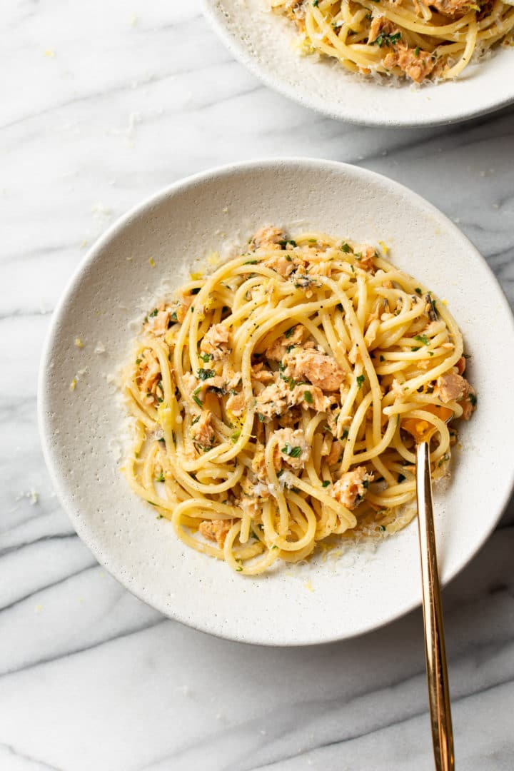 easy canned salmon pasta being twirled by a fork