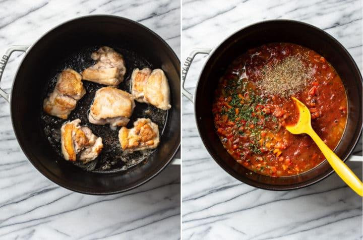 Chicken Cacciatore process collage