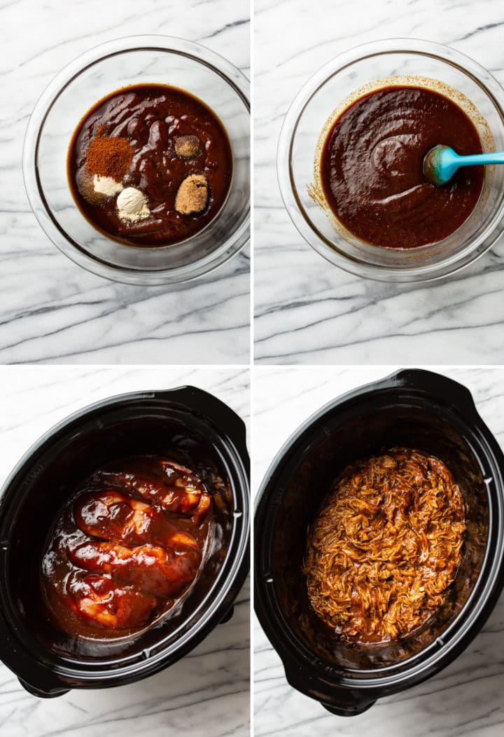 how to make Crockpot BBQ chicken process photo collage