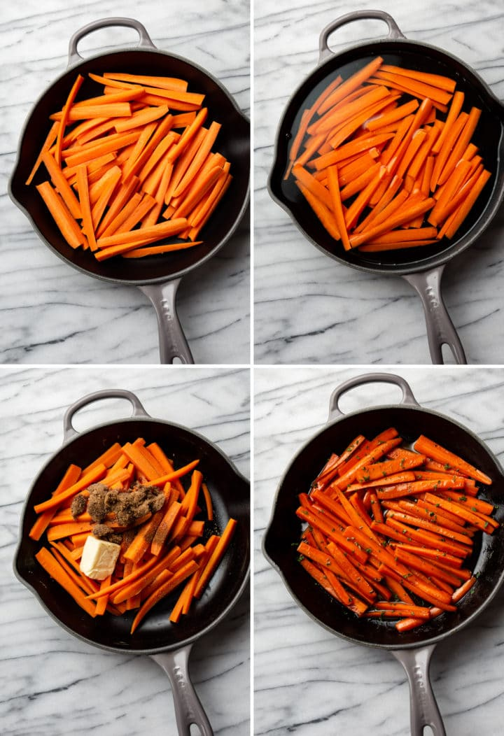 how to make glazed carrots process photo collage