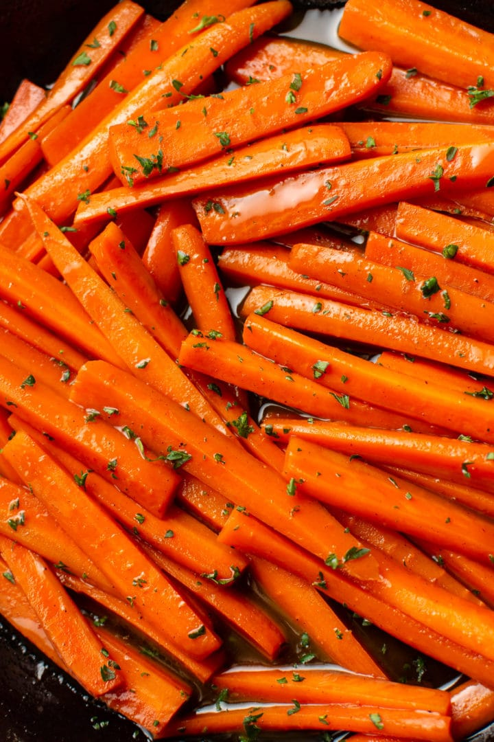 close-up of glazed carrots