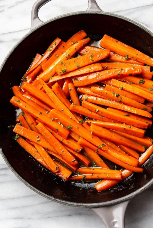 brown sugar glazed carrots in a skillet