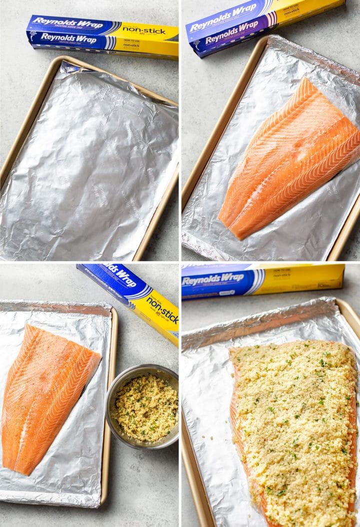 maple dijon baked salmon process photo collage
