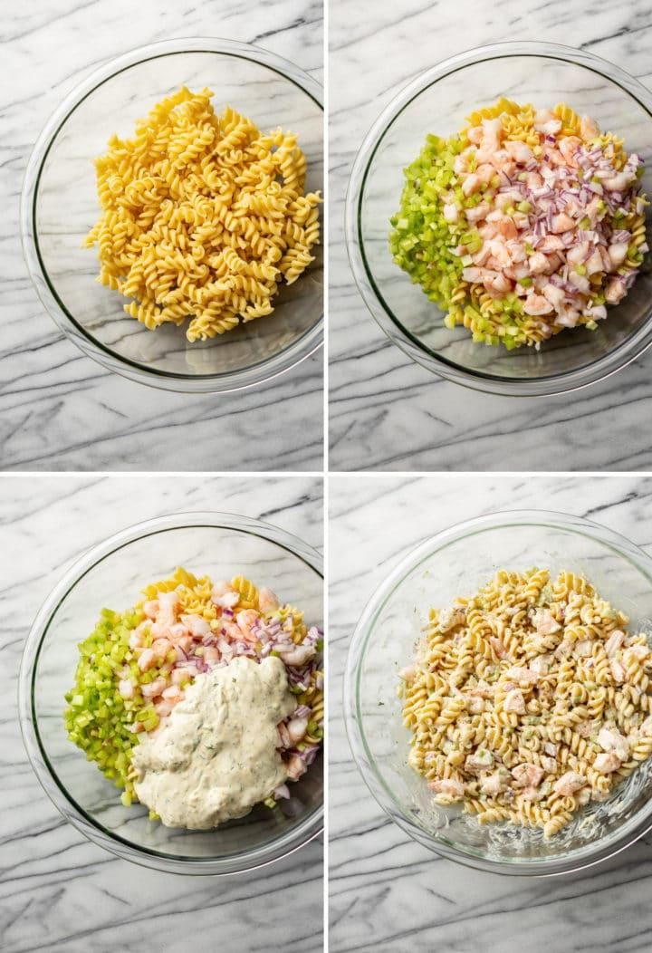 creamy shrimp pasta salad recipe photo step by step process collage
