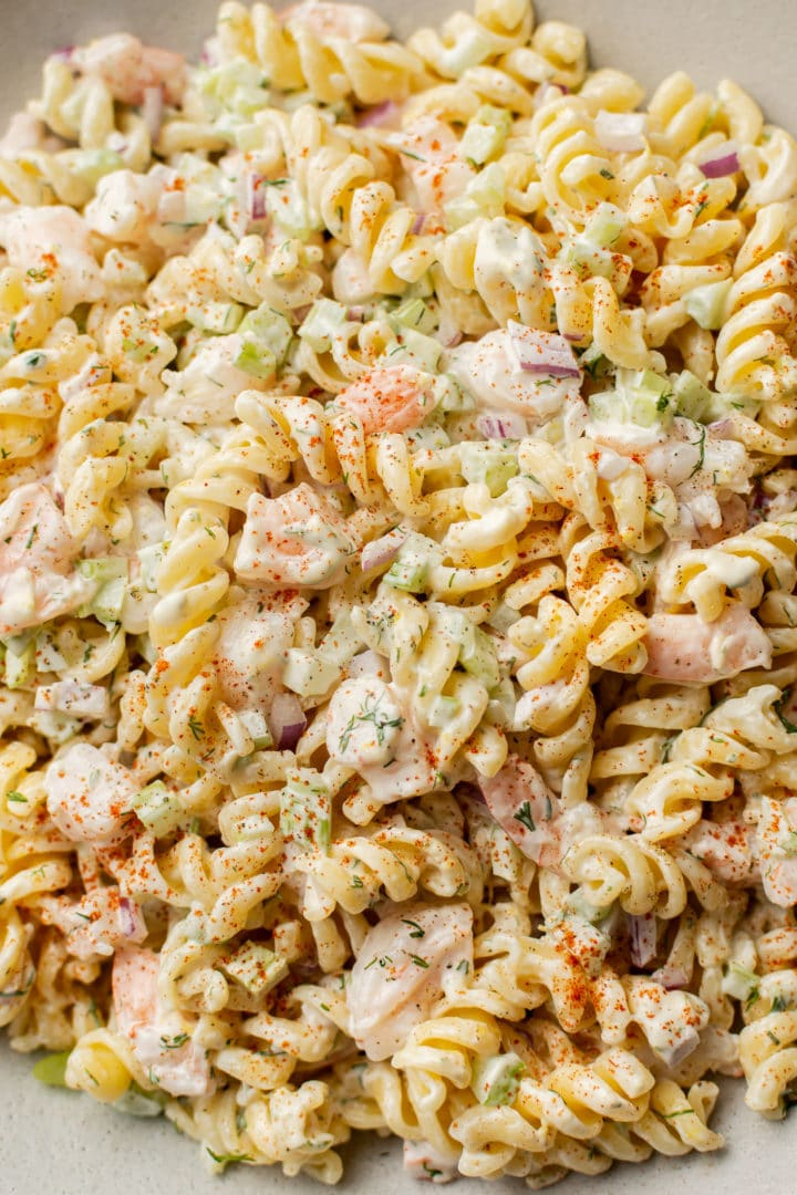 close-up of easy creamy shrimp pasta salad