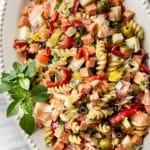 easy antipasto salad on a white platter