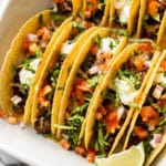 baked beef tacos close-up