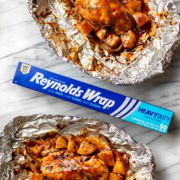 two BBQ Chicken Foil Packs pictured with Reynolds Wrap Foil