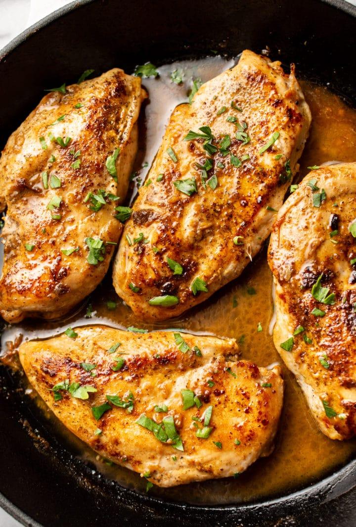 Cajun garlic butter chicken close-up
