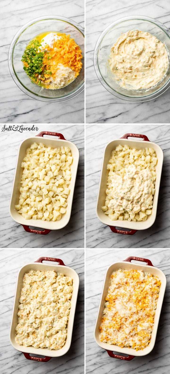 how to make cheesy potato casserole process photo collage