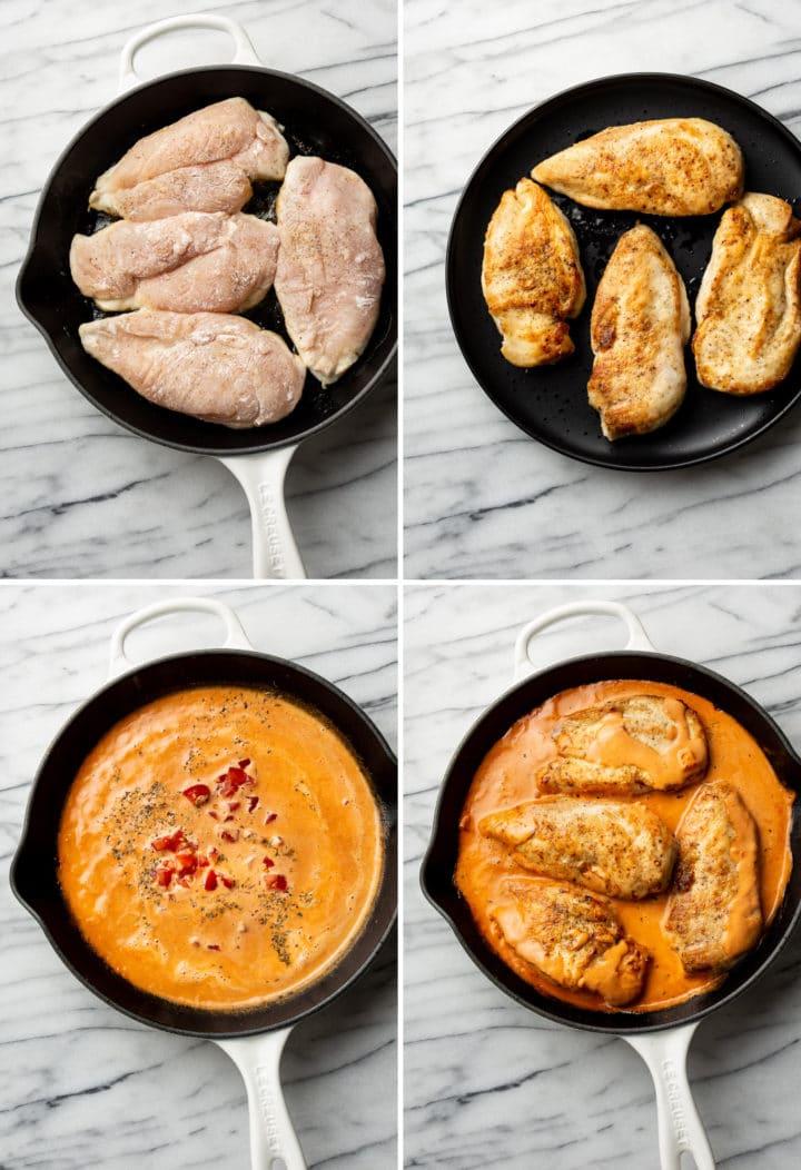 how to make creamy tomato chicken process photo collage