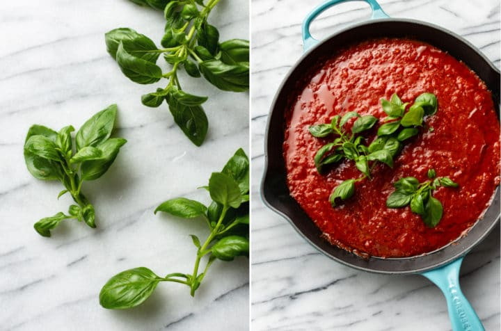 marinara sauce recipe photo collage (basil on a marble background and marinara sauce with fresh basil sprigs on top in a skillet)