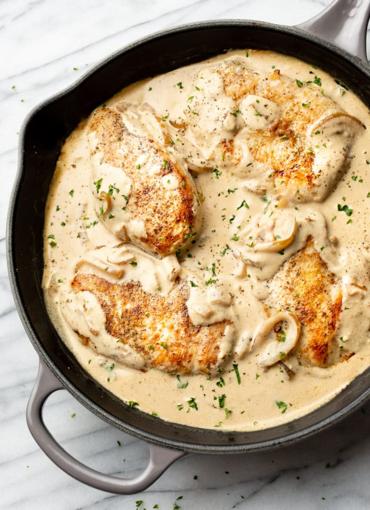 close-up of sour cream chicken in a skillet