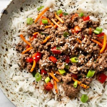 teriyaki ground beef rice bowl