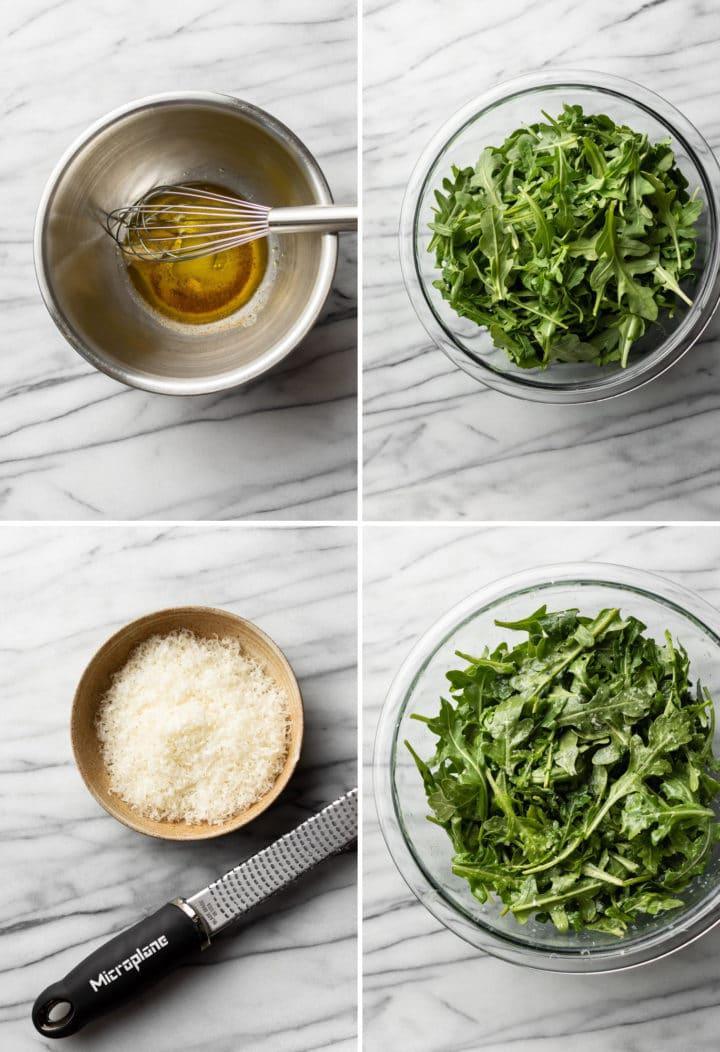 how to make arugula salad process photo collage