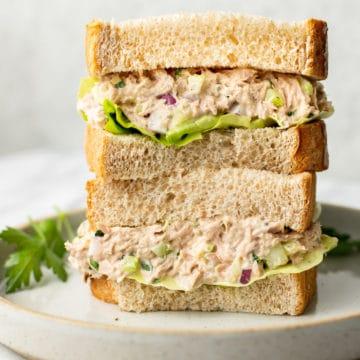 close-up of tuna salad sandwich stack