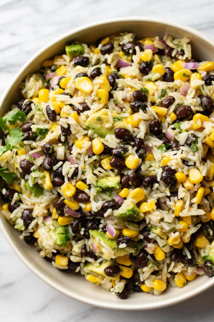 black bean corn avocado salad in a serving bowl