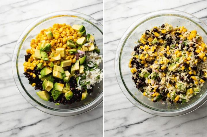 black bean avocado corn salad process photo collage