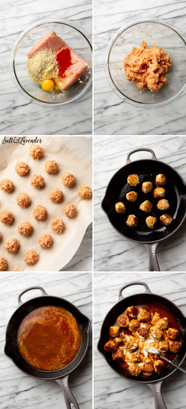 process photo collage of how to make buffalo chicken meatballs