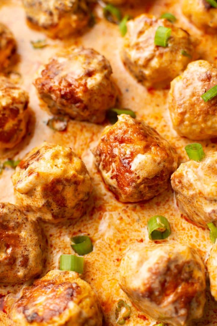 close-up of easy buffalo chicken meatballs