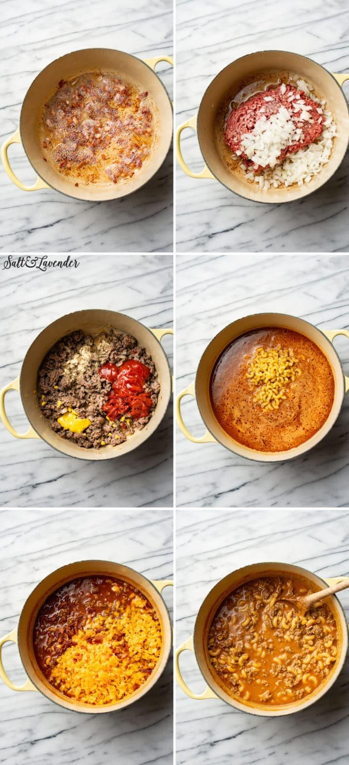 how to make cheeseburger macaroni process photo collage
