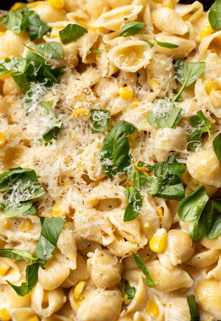 close-up of creamy corn pasta