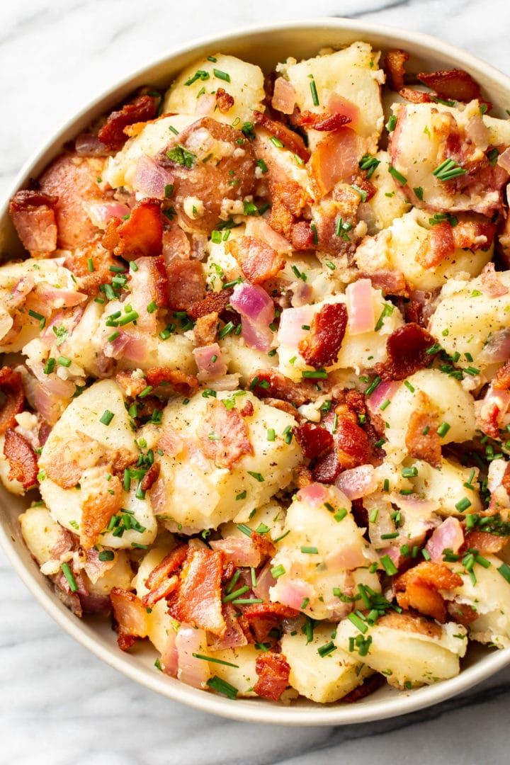 close-up of the best German potato salad in a serving bowl