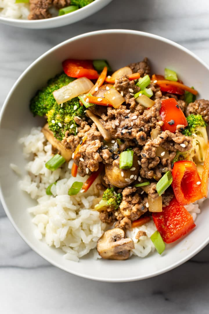 easy ground beef stir fry close-up in a white bowl