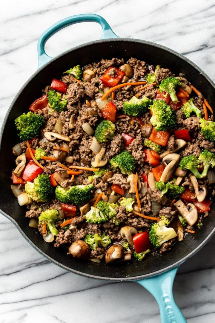 best ground beef stir fry in a cast iron skillet