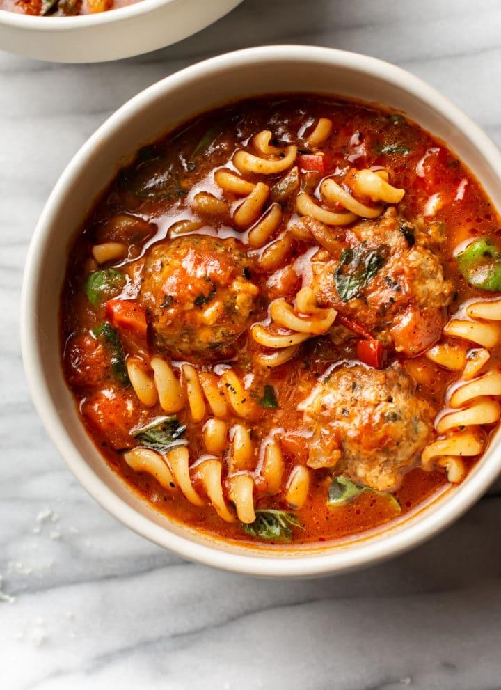 Italian meatball soup in two bowls