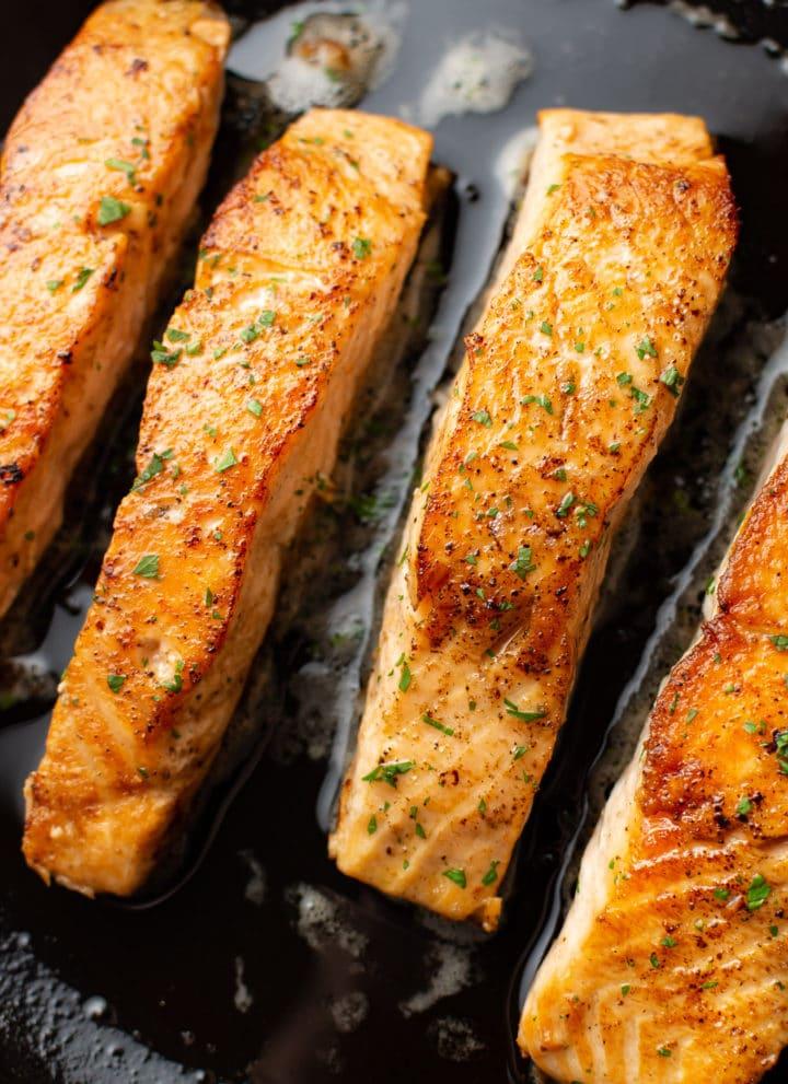 close-up of crispy pan seared salmon