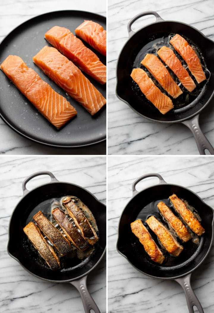 how to pan sear salmon process photo collage