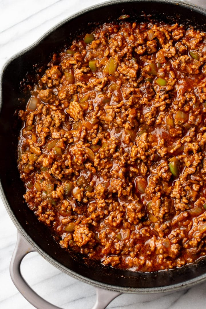close-up of homemade Sloppy Joe sauce/meat mixture in a skillet