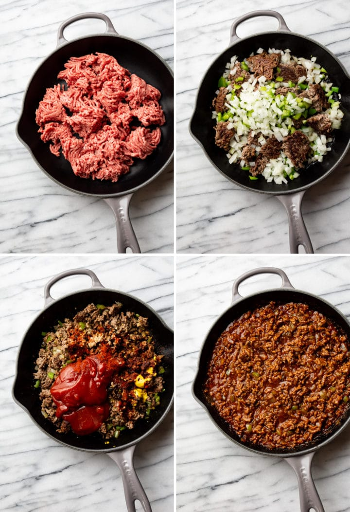 how to make homemade Sloppy Joes process photo collage