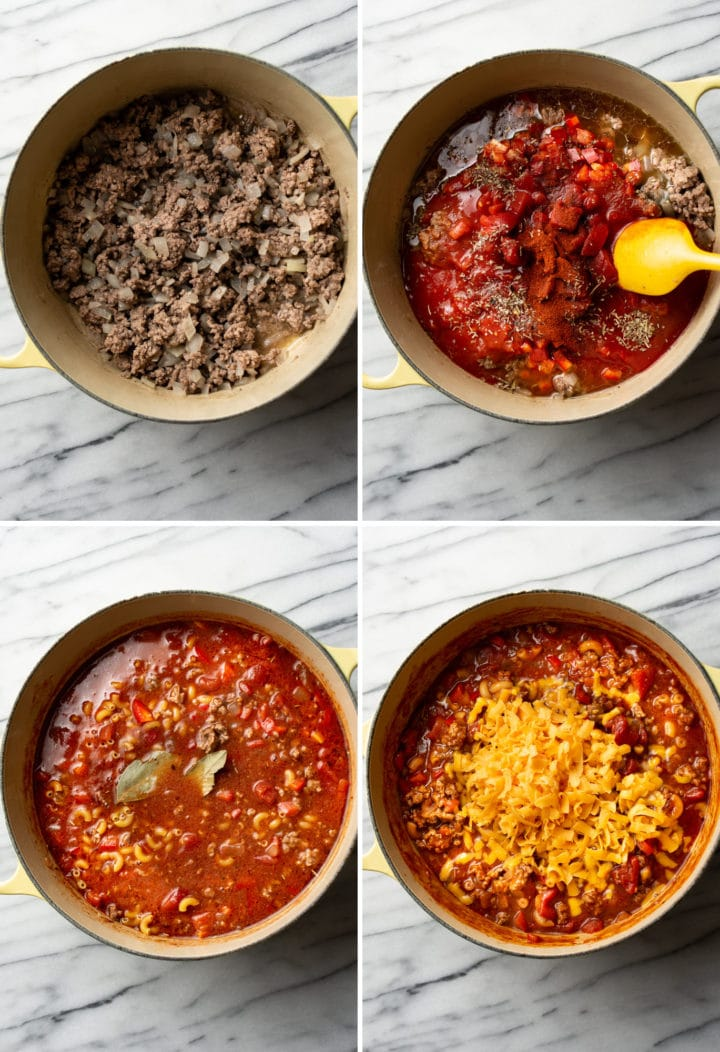 how to make American goulash process photo collage