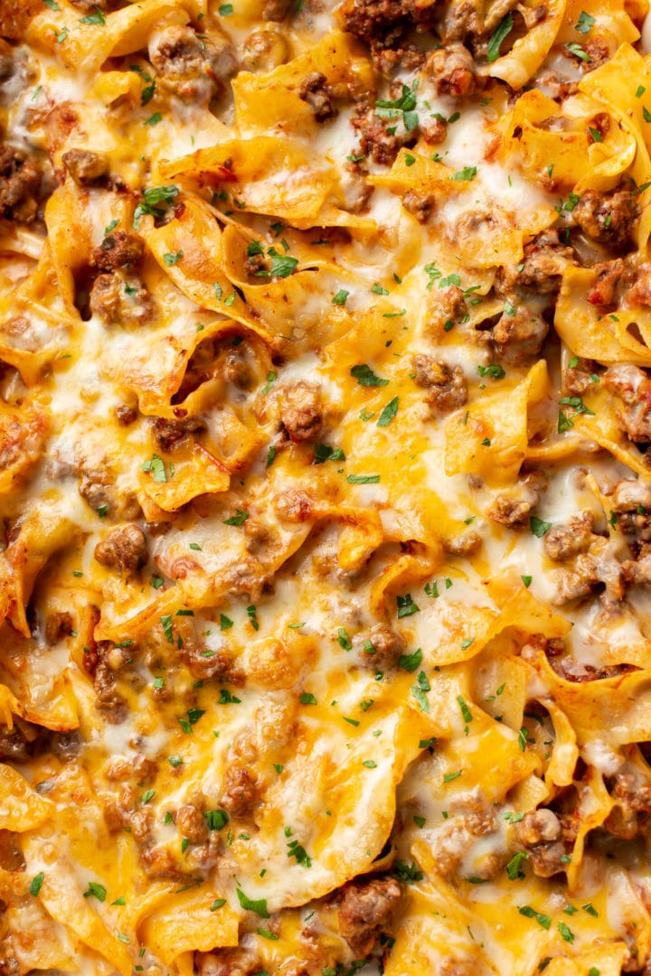 close-up of beef noodle casserole