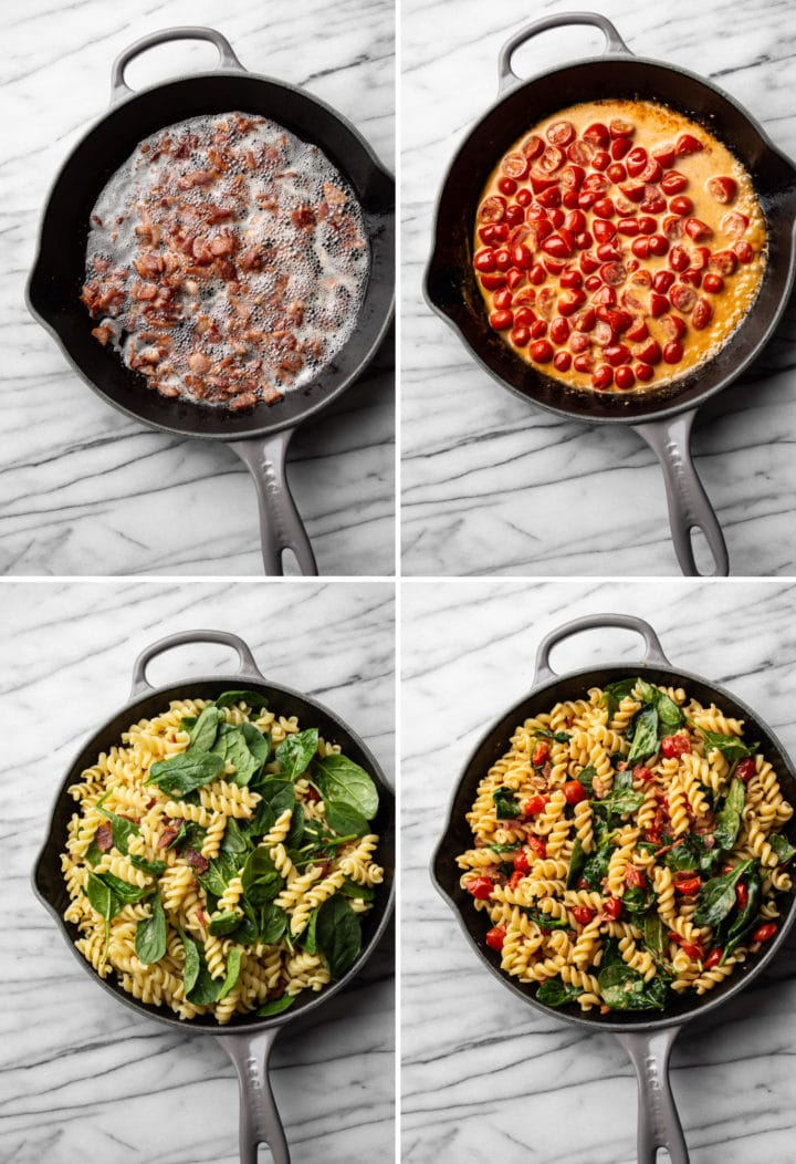 how to make BLT pasta process photo collage
