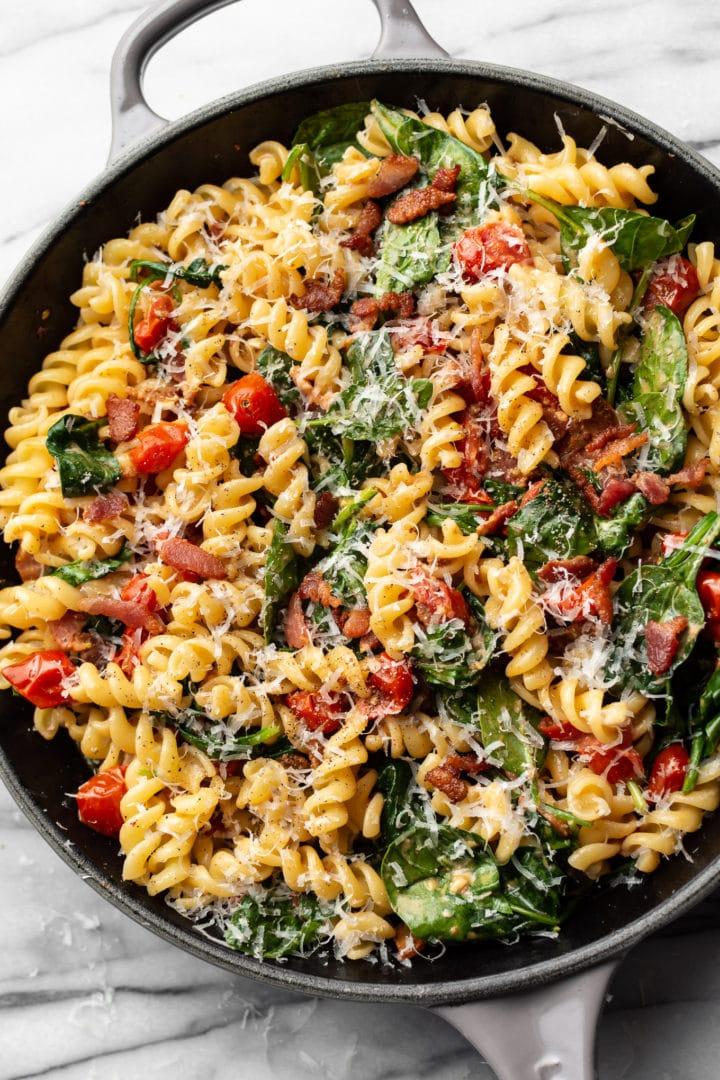 BLT pasta in a skillet